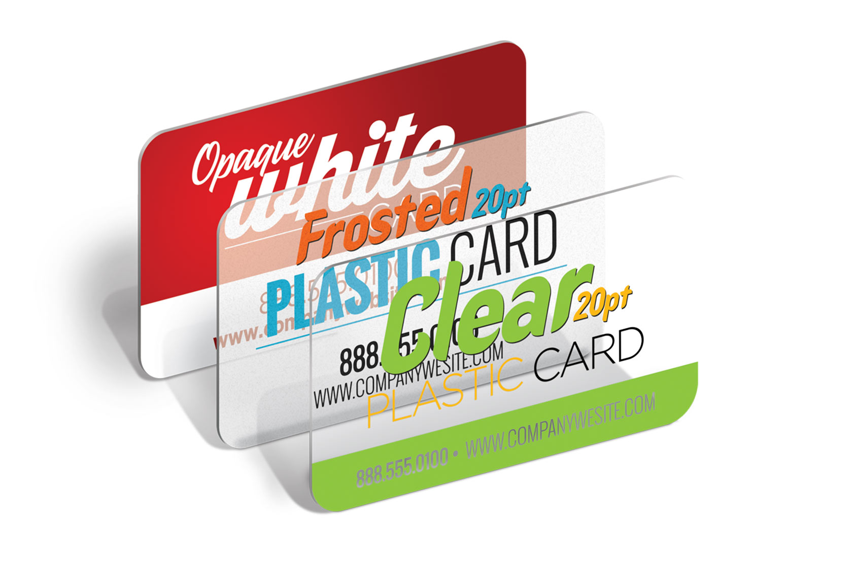 business cards postcards promotional cards and event lanyards choose from 8pt to 20pt thick and opaque white clear and frosted stocks plastic cards